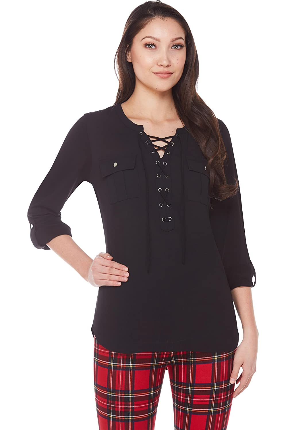 NYGÅRD SLIMS Lace-Up Blouse with Chest Pockets at Amazon Women s Clothing  store  59a92c60e