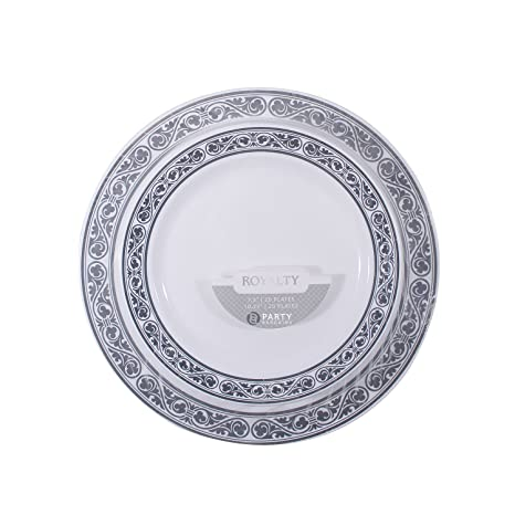 Disposable Plastic Plates Combo | Heavy Duty u0026 Premium Quality White Dinnerware Set With Silver Rim  sc 1 st  Amazon.com & Amazon.com: Disposable Plastic Plates Combo | Heavy Duty u0026 Premium ...