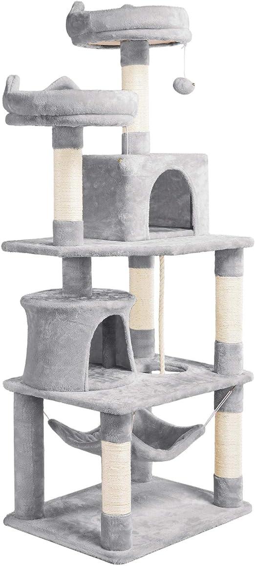 Yaheetech Árboles para Gatos Rascador Juego para Mascota Casa de Gatos Sisal Plataformas Altura 158 cm Gris Claro: Amazon.es: Productos para mascotas