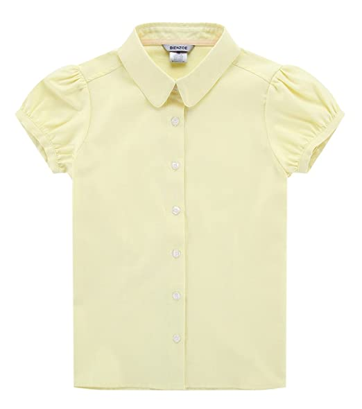 Bienzoe Big Girls School Uniforms Oxford Short Puff Sleeve Blouse