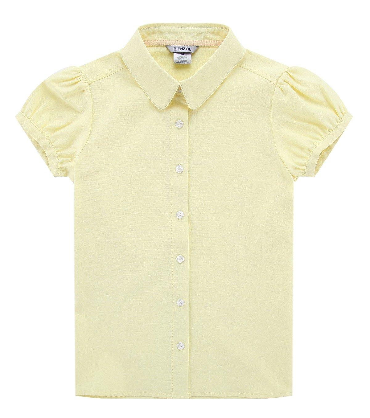 Bienzoe Big Girl's School Uniforms Oxford Short Puff Sleeve Blouse Yellow M