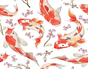 Ghjxda 5D DIY Colorful Diamond Painting Kits Oriental Rainbow Carps Fishes Blossom Cherry Asian Floral Painting Arts Craft Canvas for Home Wall Decor Full Drill Cross Stitch 12x16 Inch