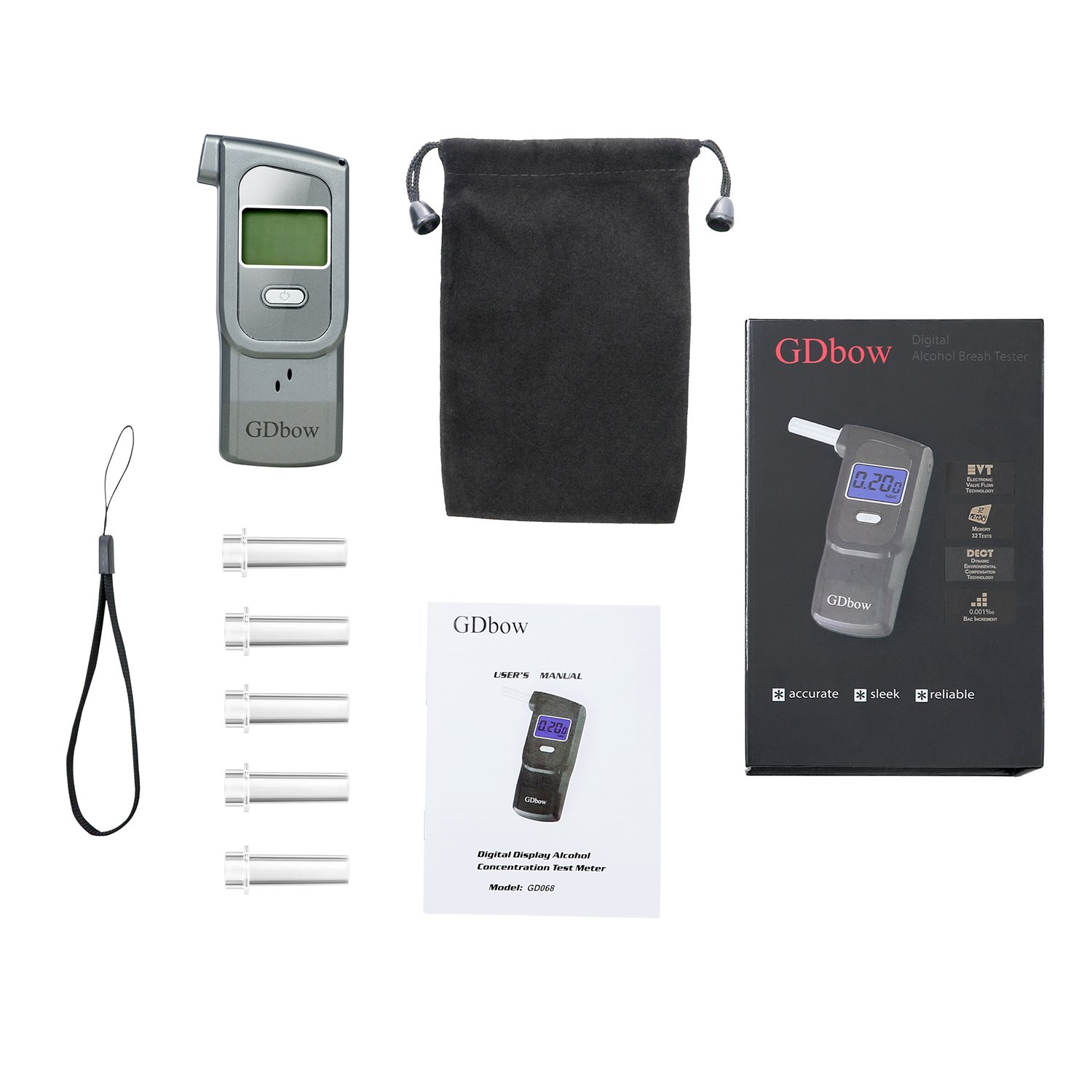 GDbow PortableBreathalyzer AlcoholTester Recording 32 Testing Results with 5 Mouthpieces for Personal Use -Grey by GDbow (Image #9)