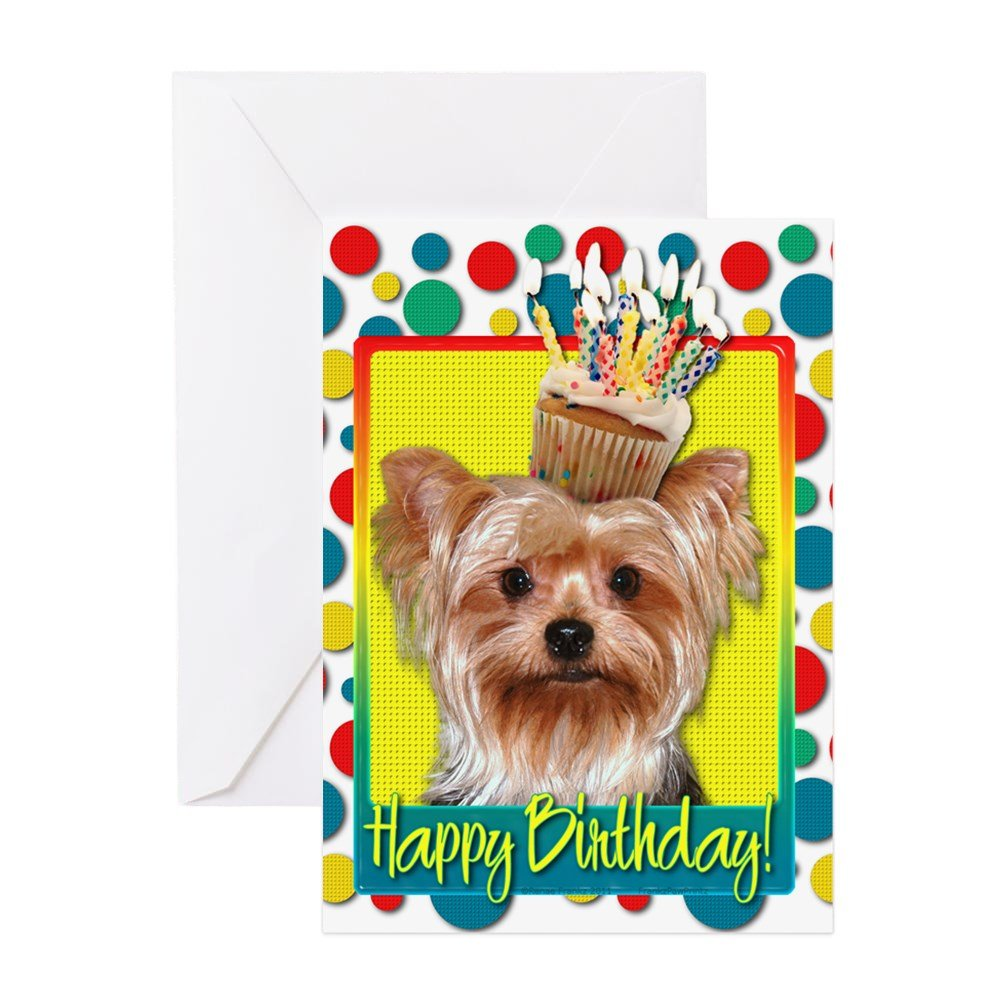 CafePress - Birthday Cupcake - Yorkie - Greeting Card, Note Card, Birthday  Card, Blank Inside Matte