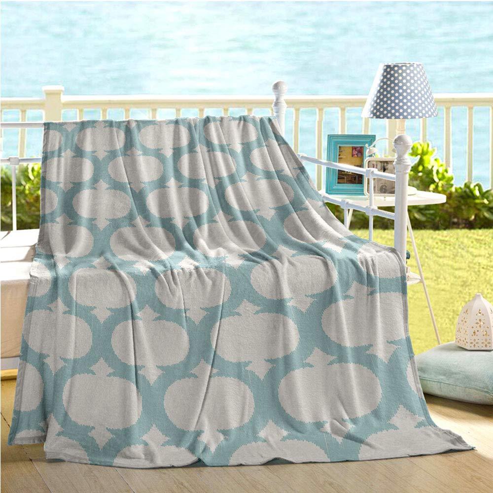 "Mademai Aqua Baby Blanket,Mesh Pattern with Curvy Figures Ancient Arabic Lattice Design Old Fashioned Pastel,Summer Quilt Seafoam Cream 60""x90"""
