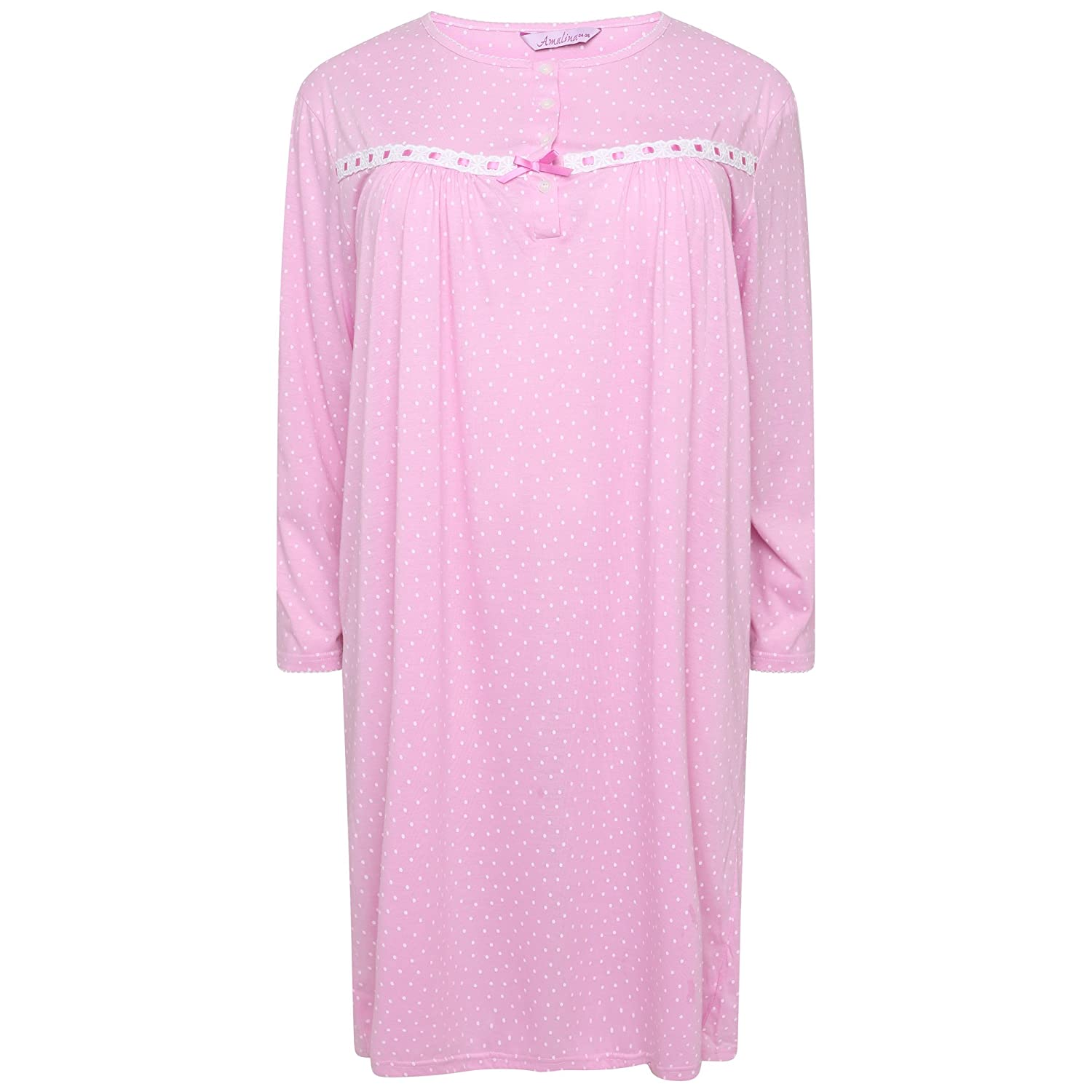 Amalina Ladies Long Sleeved Jersey Nightdress. Pink Spot or Blue Spot. Sizes 12-14 16-18 20-22 24-26