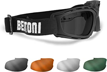 6b7a74348b Motorcycle and Extreme Sports Goggles with 4 Interchangeable Lenses included  by Bertoni Italy - AF120B Motorcycle