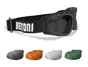 Gafas Mascara para Moto y Sport con 4 lentes Anti-Vaho intercambiables Incluidas by Bertoni