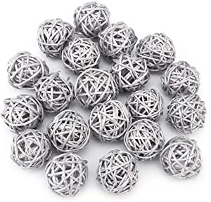 FAMKIT 20pcs Wicker Rattan Balls for Garden Table Wedding Party Christmas Decoration(Silver)