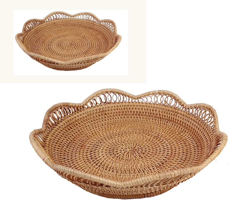 Bread basket Wicker Tray Bread Serving Basket Candy Bowls for Party Tables Restaurant Food Woven Wall Baskets (Set of 2) Storage for Bathroom, Living Room, Dinning Room