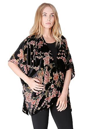 7f1a2d276c BYOS Boho Stylish Semi Sheer Mesh Open Front Burnout Floral & Paisley Print  Velvet Kimono Cardigan