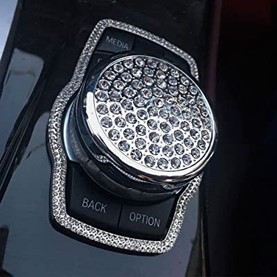 Thor-Ind Crystal Diamond Bling Car Interior Center Console Multimedia knob Button Decor Cover Cap Trim for BMW 1 3 4 5 7 Series X1 X3 X4 X5 X6 2013-2014 Unique Gift for Women (Silver-Large Size): Automotive
