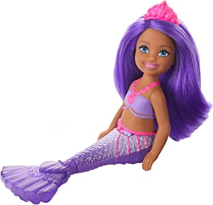 Barbie Dreamtopia Chelsea Mermaid Doll, 6.5-inch with Purple Hair and Tail