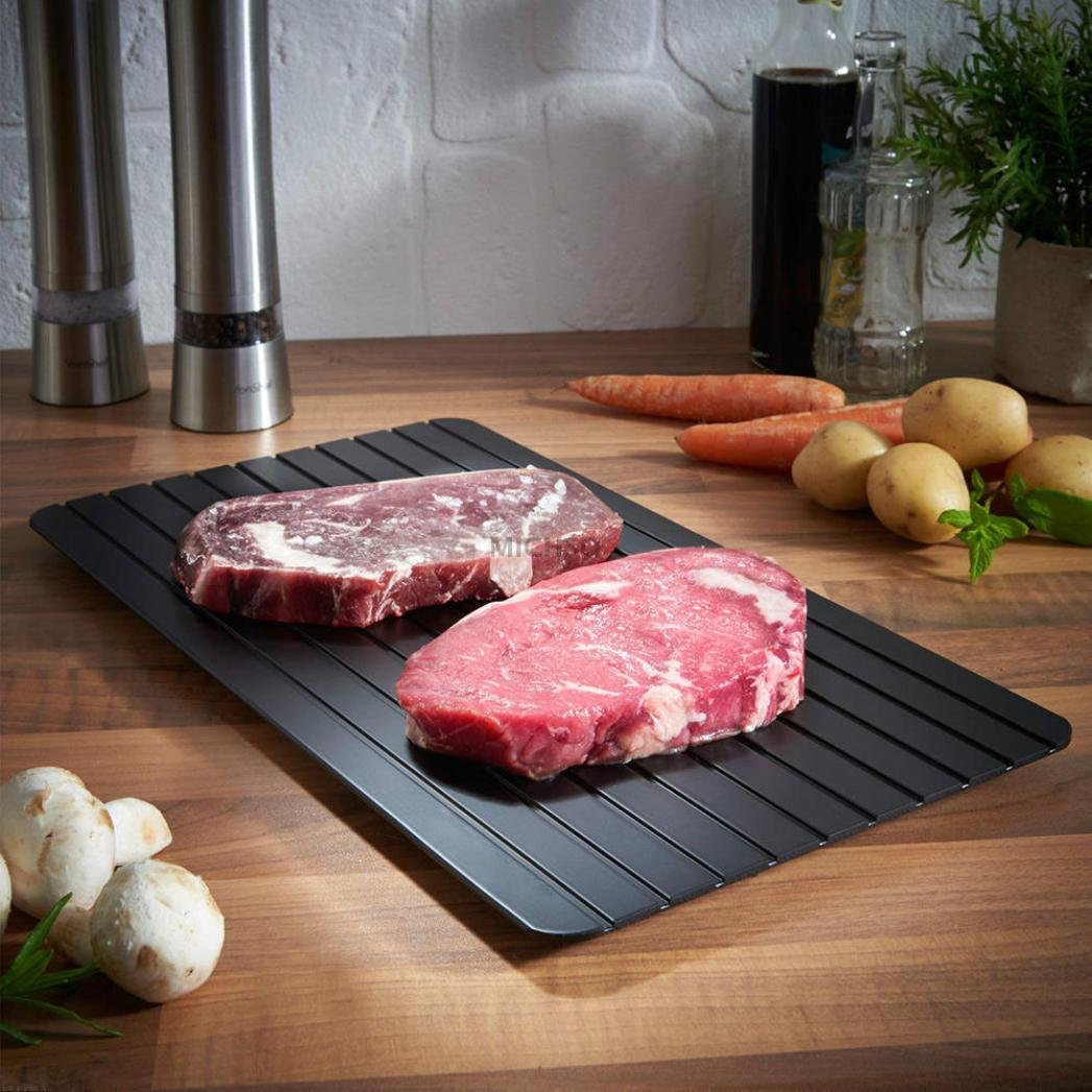 Fast Defrosting Tray, Iusun Aluminum Kitchen The Safest Way to Defrost Meat or Frozen Food Quickly Without Electricity, Microwave, Hot Water or Any Other Tools (Black)