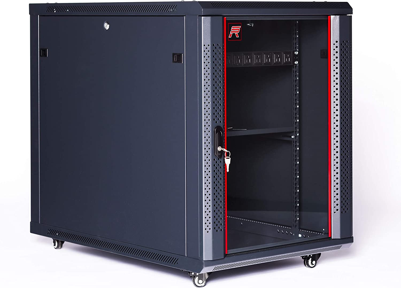 Sysracks 15U Server Rack Cabinet Under Desk Locking Server Enclosure 35 Inch Depth Half Rack Cabinet with Wheels - PDU - Fan - Shelf