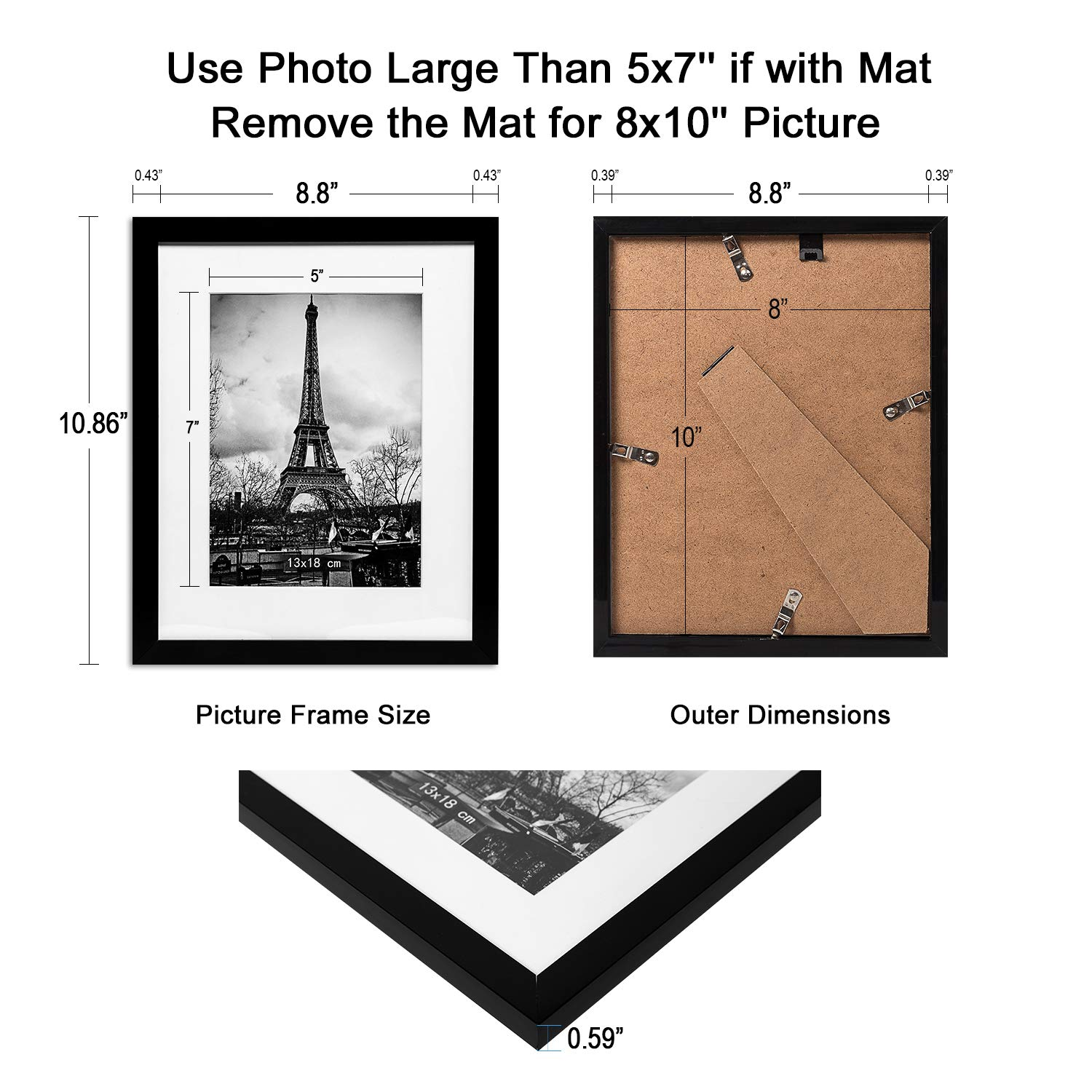upsimples 8x10 Picture Frame with Mat Set of 10,Black Picture Frames for Wall or Tabletop Display,Gallery Wall Frame Collage by upsimples (Image #3)