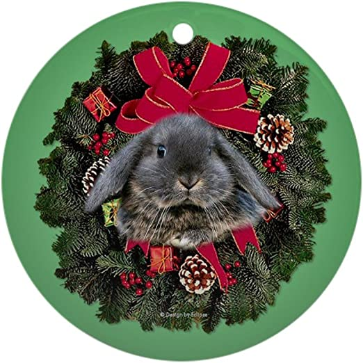 Cafepress Lop Eared Rabbit Christmas Ornament Round Round Holiday Christmas Ornament