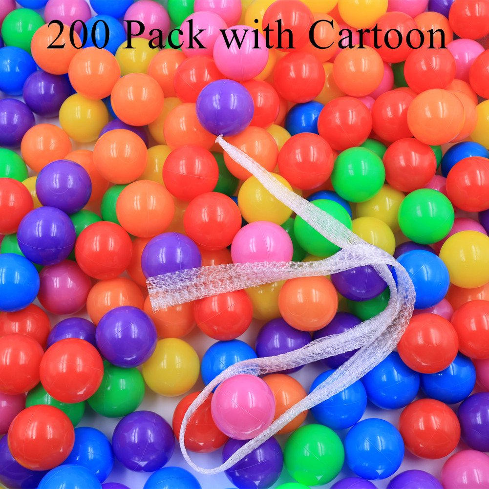 Pit Balls Little Tikes Ball Pit Crush Proof Plstic Balls Pit 7 Color 200 Packs Playballs in Bulks with Mesh Bag in Cartoon Package for Kids Babies SX09UIT-10