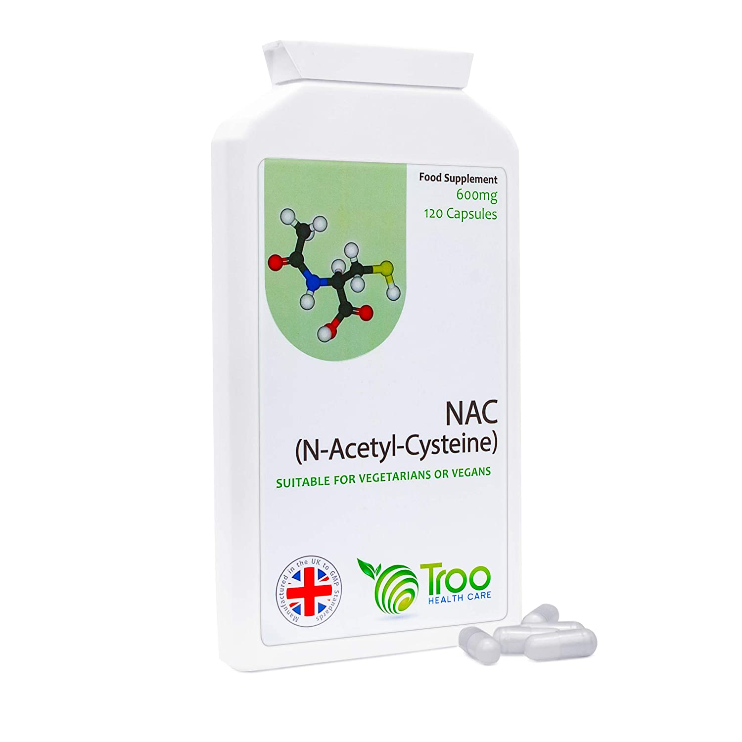 Troo Health Care - NAC 600mg 120 Capsules | N-Acetyl-Cysteine Amino Acid  Supplement – Stable Form of L-Cysteine | UK Manufactured, Quality