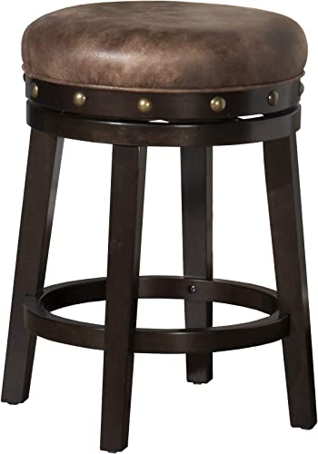 Hillsdale Benard Backless Swivel Counter Stool Height, Brown
