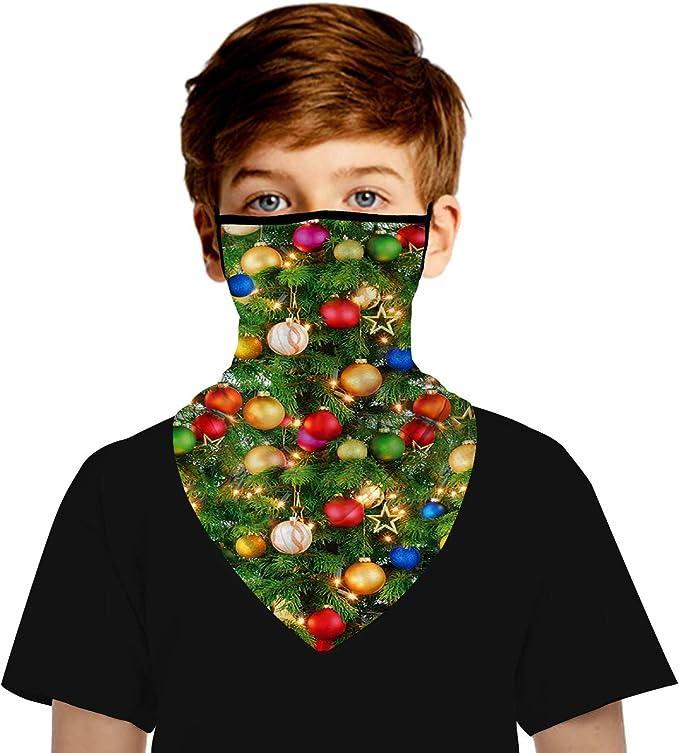 DoeRal 5 St/ück Wiederverwendbares Gesicht Bandanas Weihnachtsfeier Schals Geschenk Schwarz bedruckte Halst/ücher Atmungsaktiver Schutz Mund und Nase im Freien