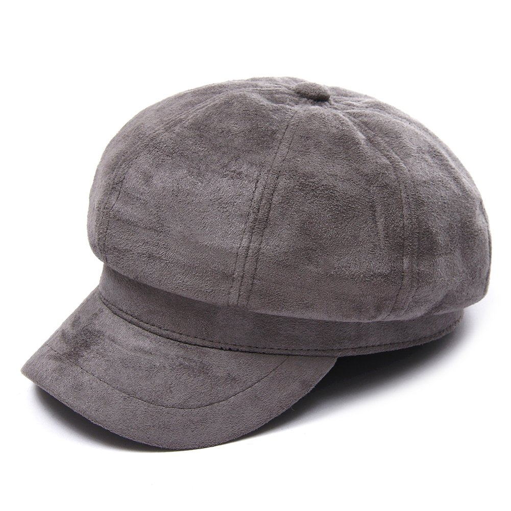 Santiagoana Women Corduroy,Cotton Newsboy Cap Cabbie Painter Beret Cloche Cotton Visor Hats (Grey) by Santiagoana (Image #1)