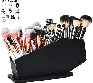 Coffin Brush Holder - Gothic Desk Organizer - Wooden Coffin Pen Holder -Spooky Decor for Bathroom, Living Room or Bedroom- Black - 10x 5x3.25 Inch by HanSoar