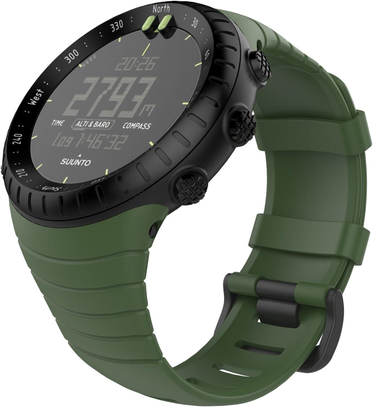 MoKo Banda de Reloj para Suunto Core, Clásico Reemplazo Suave Puño/Pulsera con Cierre de Metal para Suunto Core Smart Watch, se Ajusta a la Muñeca de 5.51