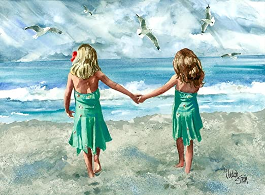 Beach Children Girls Sisters Picture Print Paintings Home Wall Art Decoration