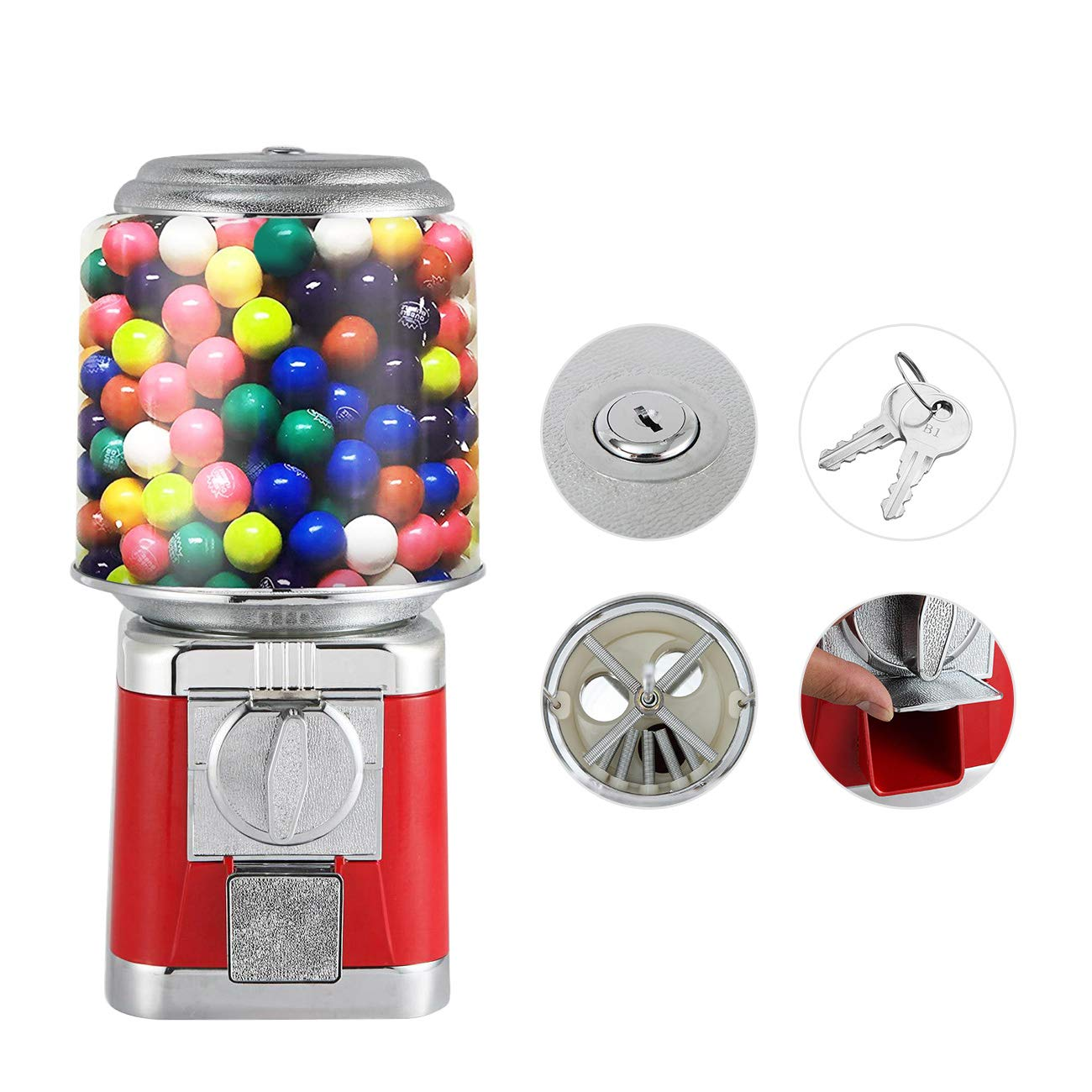 Gumball Machine Metal Gumball Candy Vending Machine Removable Canisters Capsule Bouncy Ball Gumball Vending Dispenser Machine