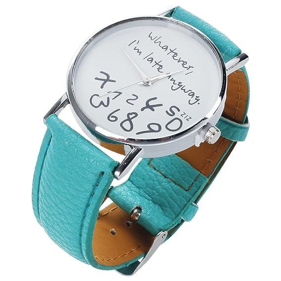 """Whatever I am Late Anyway"" Inglés alfabeto reloj de pulsera – TOOGOO ("