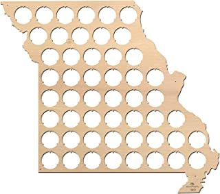 product image for All States Beer Cap Map Missouri – 14,6x13 inches – 51 caps – Missouri Beer Cap Holder – Birch Plywood