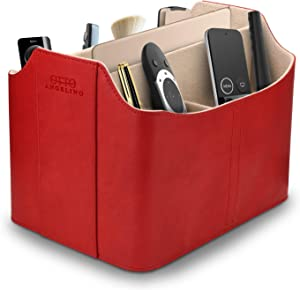 Londo Leather Remote Control Organizer and Caddy with Tablet Slot - Red