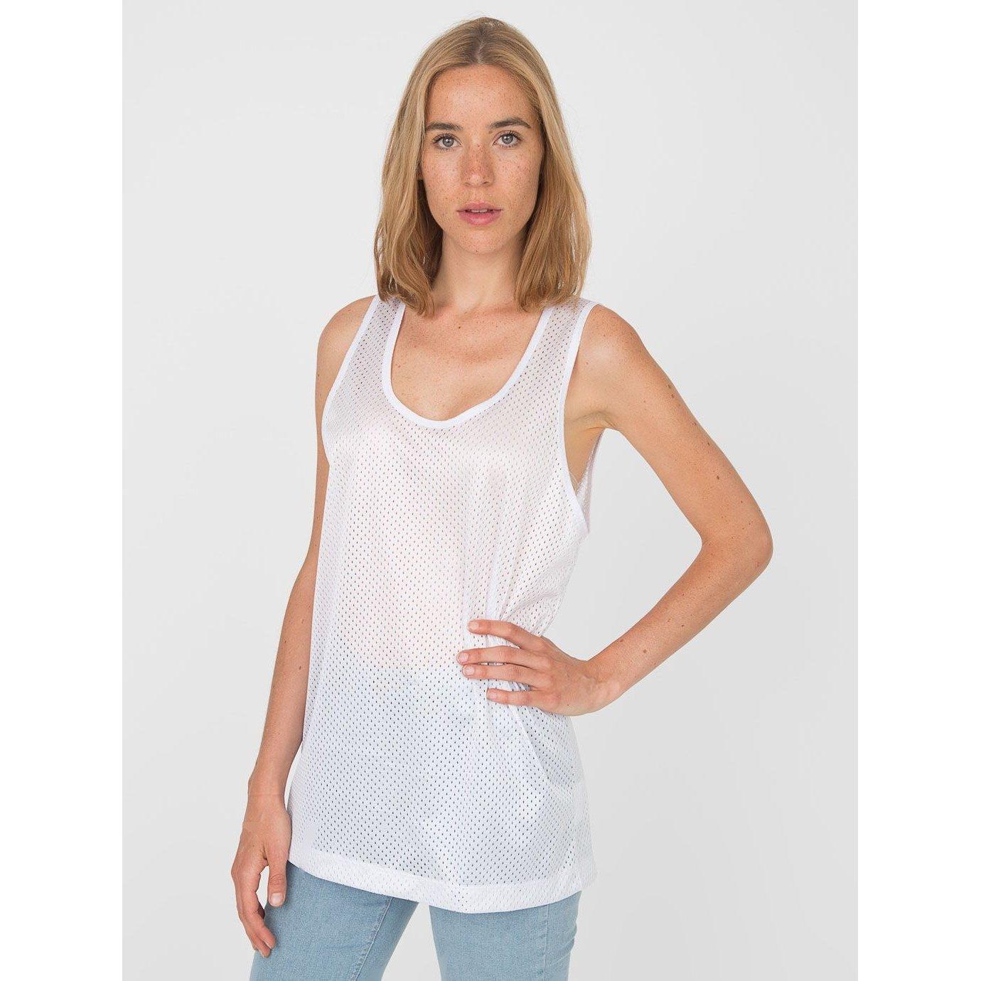 American Apparel Unisex Lightweight Mesh Sports Vest/Tank Top (L) (White)