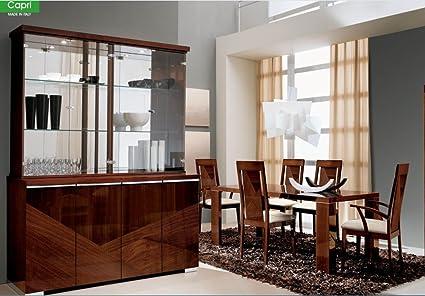 ESF ALF Group High Gloss Dark Walnut Capri Dining Room Set 8 Pcs Made In Italy