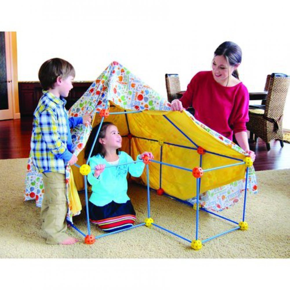 Image is loading Discovery-Kids-72-Pc-Build-&-Play-Construct-  sc 1 st  eBay & Discovery Kids 72 Pc Build u0026 Play Construct Fort Tent Tunnel ...