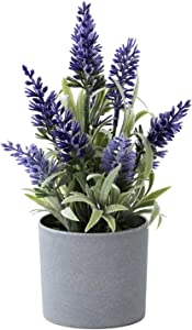 wimesa Artificial Lavender Plant 9 inches, Realistic Faux Purple Flowers in Melamine Pot for Home Indoor or Office Decor