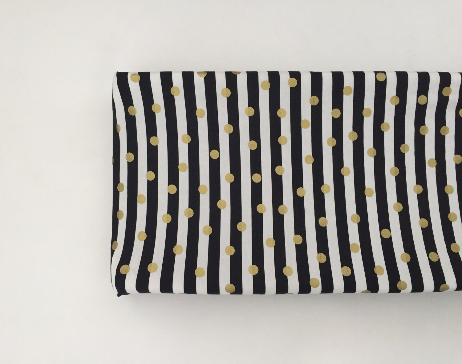 Changing Pad Cover - Black and White Stripes with Gold Dots