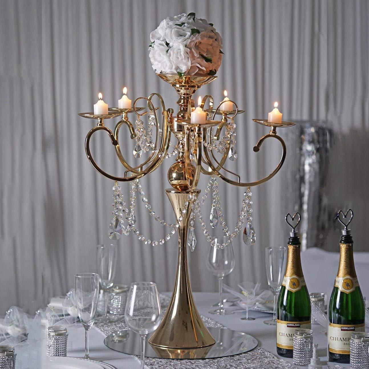 Tableclothsfactory 27.5'' Tall Gold Metal Candelabra Chandelier Votive Candle Holder Wedding Centerpiece - with Acrylic Chains by Tableclothsfactory