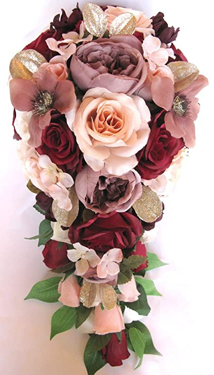 Amazon.com: Wedding Bouquet 17 piece package Bridal Bouquets Silk ...