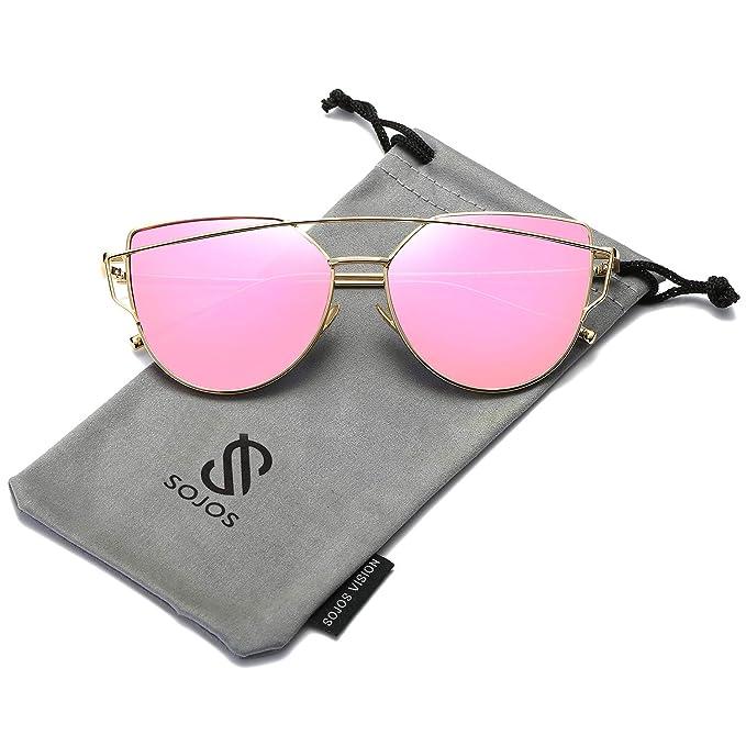 SOJOS Gafas De Sol De Moda Marca Metal Para Mujer-Lentes Planos De Espejo- Con Estilo Ojo De Gato SJ1001 Marco Oro/Lente Rosa Fusia
