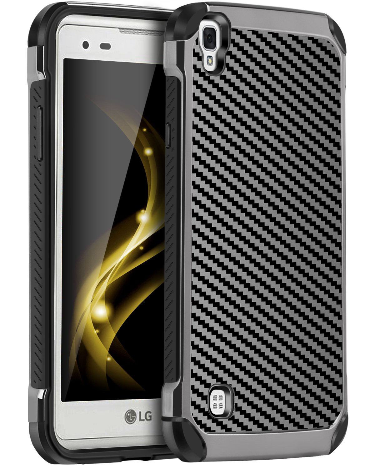 LG Tribute HD Case, LG X Style Case, LG Volt 3 Case, BENTOBEN Shockproof Hybird Hard PC Carbon Fiber Texture PU Leather Protective Phone Cases for LG Tribute HD/ LG X Style/ LG Volt 3/ LS676, Black
