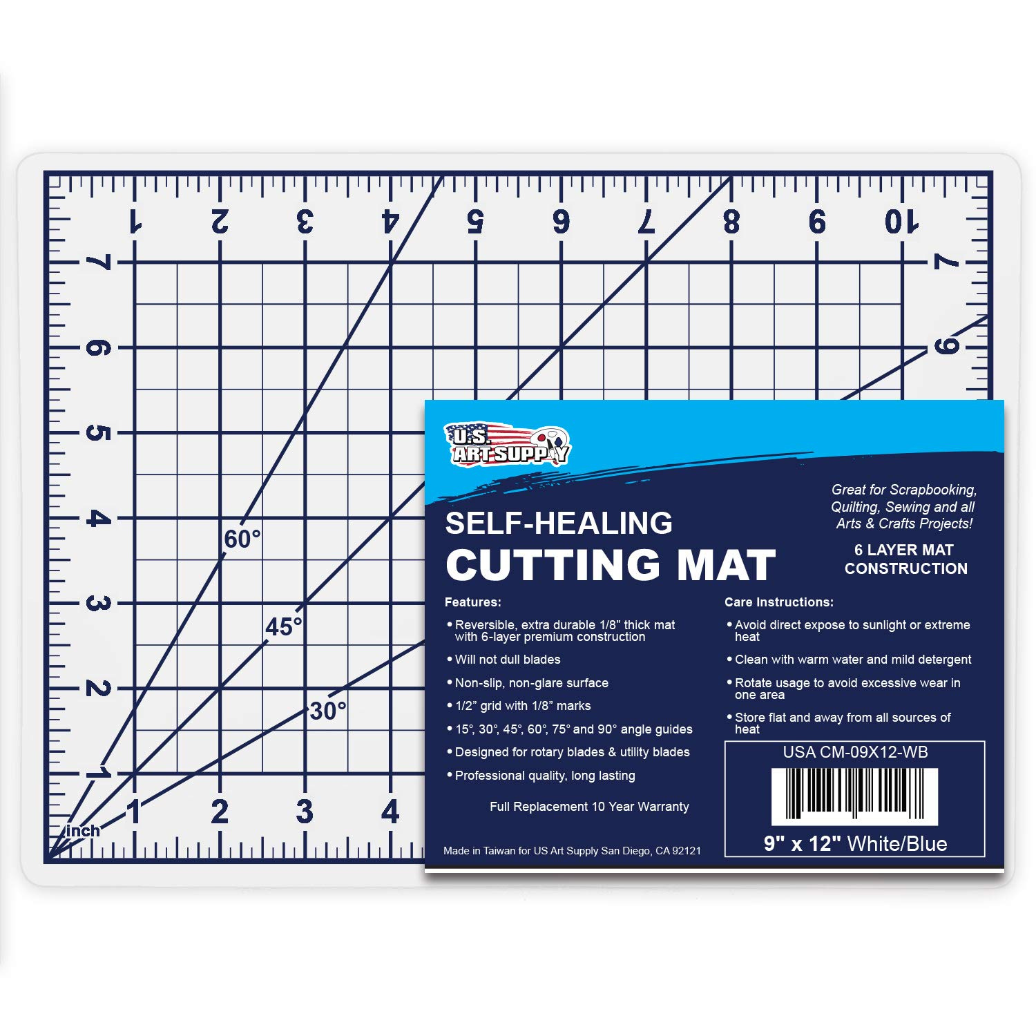 U.S. Art Supply 36' x 48' WHITE/BLUE High Contrast Professional Self Healing 6-Layer Double Sided Durable Non-Slip PVC Cutting Mat Great for Scrapbooking, Quilting, Sewing and all Arts & Crafts Projects
