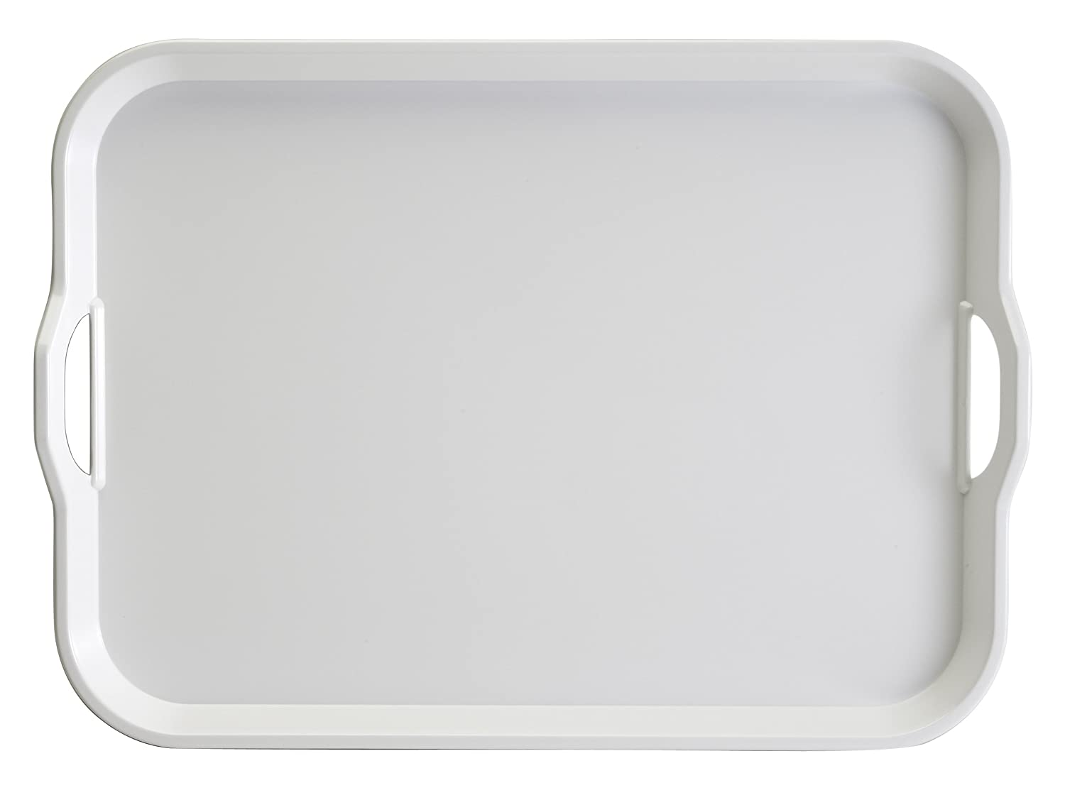 Hutzler Melamine Serving Tray, White, 20-Inch