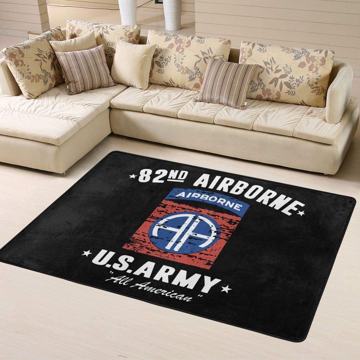 NOT US Army Veteran 82nd Airborne Super Soft Personalized Carpet Decorator Floor Rug and Carpets 63 X 48 Inch Game Room Floor Carpet