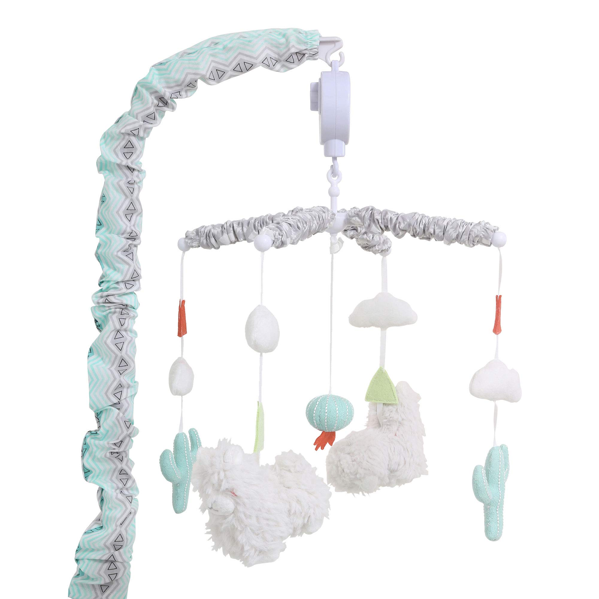 Little Llama Mint Green and Grey Digital Musical Crib Mobile