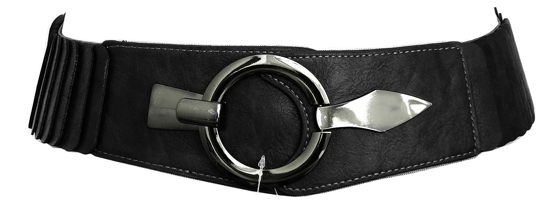 Hüftgürtel One Size Stretch Silber Schimmer SA-73 Damen Gürtel Leder Taillen