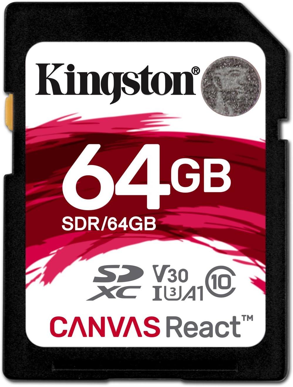 Kingston Canvas React - Tarjeta SD de 64 GB, Color Negro