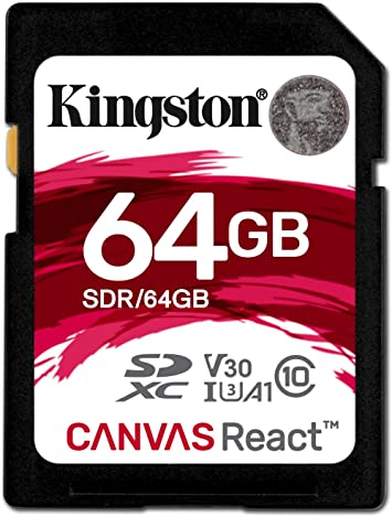 TALLA 64 GB. Kingston Canvas React - Tarjeta SD de 64 GB, Color Negro