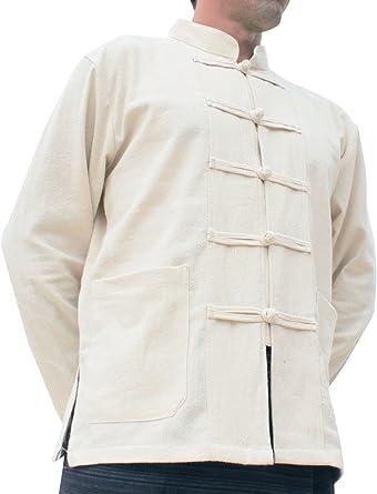 f9cdf952a RaanPahMuang Thick Muang Cotton Chinese Jacket Shirt Mandarin Frog Button  Front at Amazon Men's Clothing store: